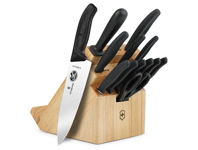 Victorinox Swiss Classic 14 Piece Beechwood Swivel Knife Block Set