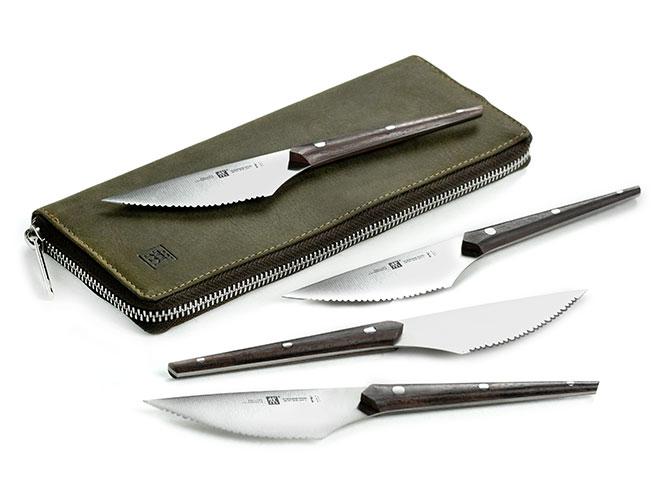 Zwilling J.A. Henckels Twin Gourmet 4 Piece Gentlemen's Steak Knife Set with Leather Travel Case