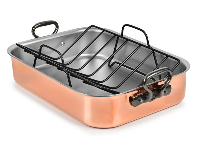 """Mauviel M200CI 16x12"""" Tri-Ply Copper Roasting Pan with Rack"""