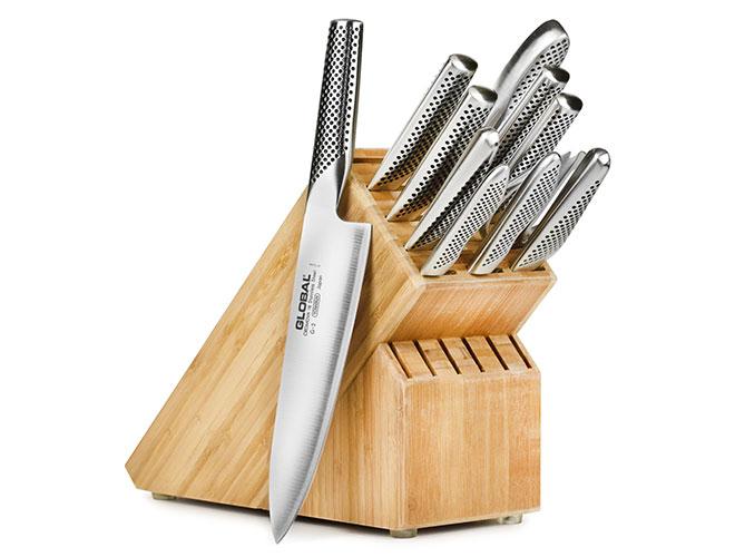 Global 12 Piece Bamboo Knife Block Set