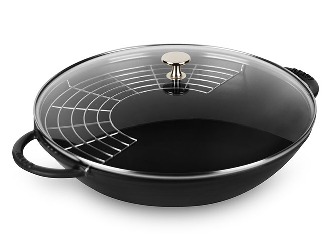 "Staub 14"" Matte Black Wok with Glass Lid"