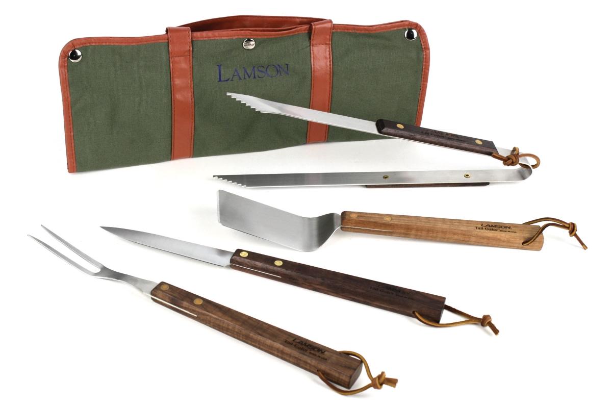 Lamson 4 Piece TailGater Walnut Handle Stainless Steel BBQ Tool Set