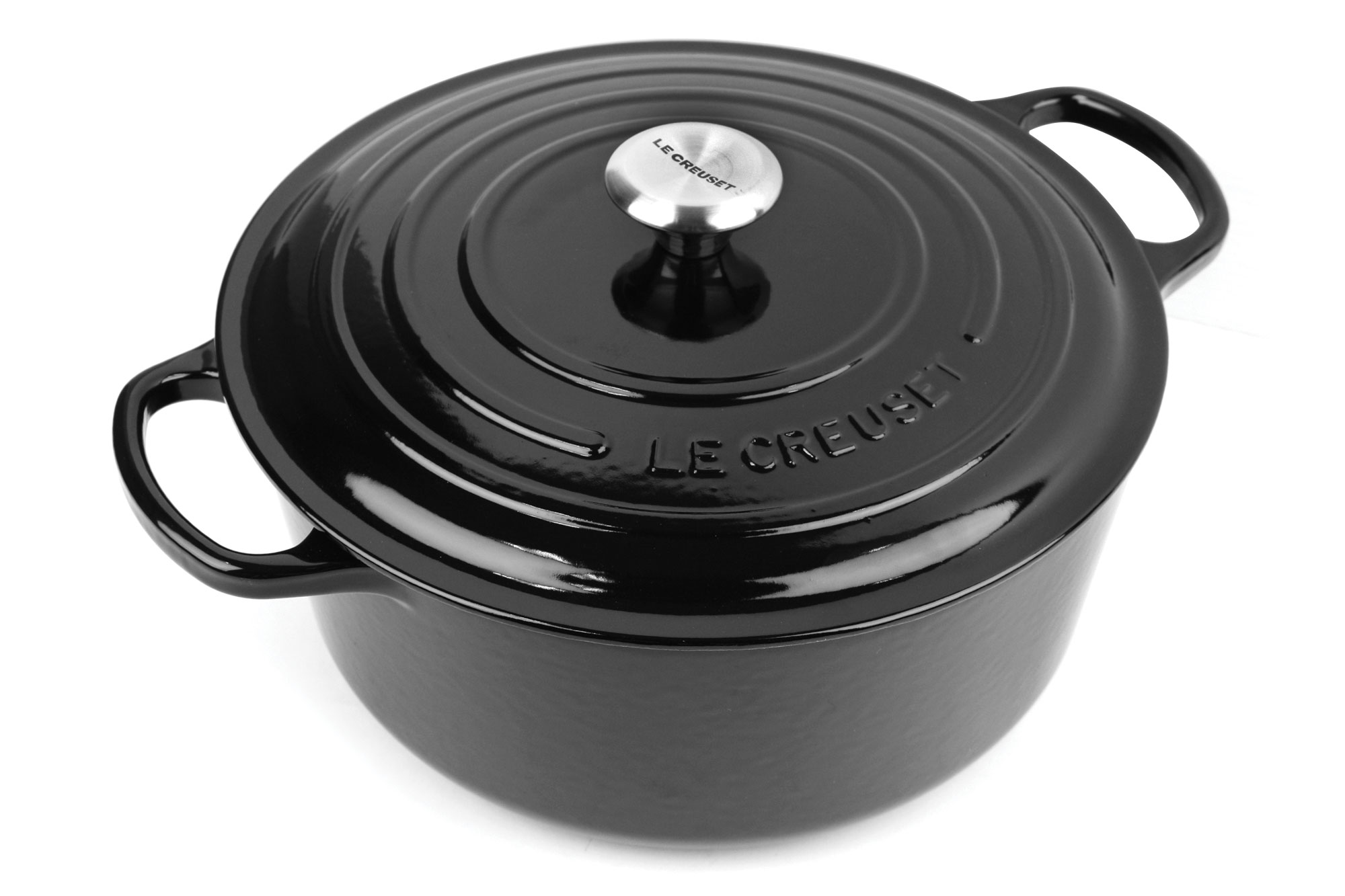 le creuset signature cast iron round dutch oven 9 quart black cutlery and more. Black Bedroom Furniture Sets. Home Design Ideas