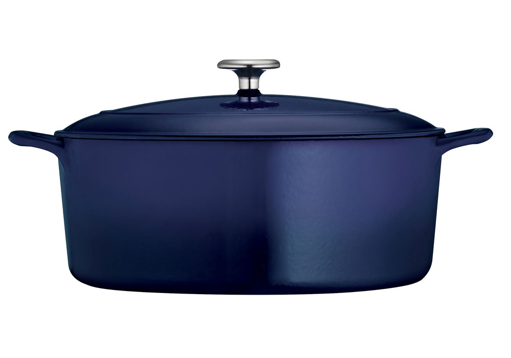 tramontina enameled cast iron oval dutch oven 7 quart cobalt blue cutlery and more. Black Bedroom Furniture Sets. Home Design Ideas