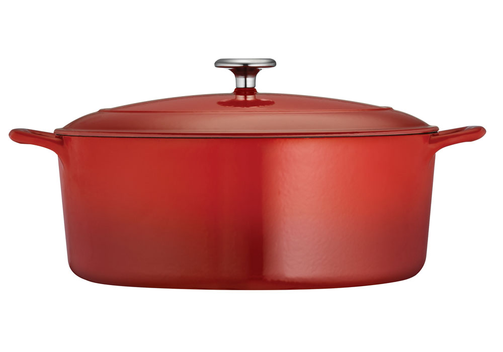 Tramontina Enameled Cast Iron Oval Dutch Oven 7 Quart Red