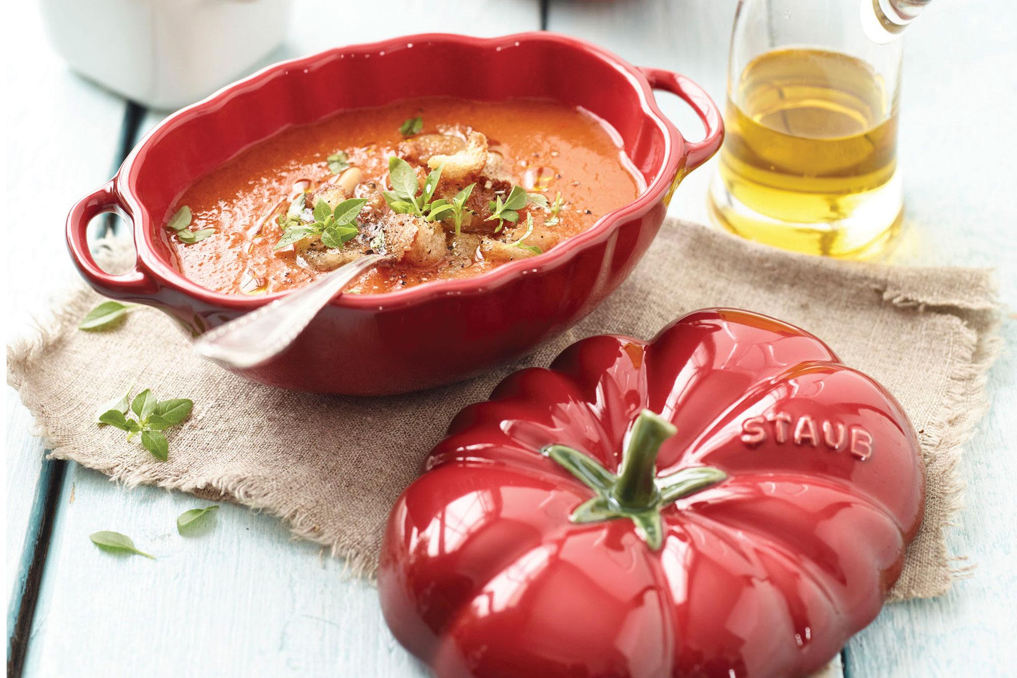 Staub Ceramic Petite Tomato Cocotte 0 5 Quart Cutlery