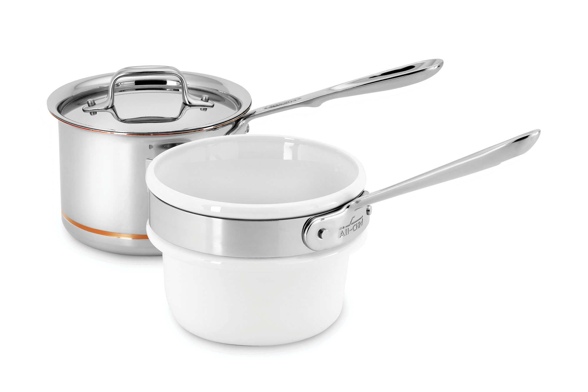 All Clad Copper Core Ceramic Double Boiler Amp Saucepan Set