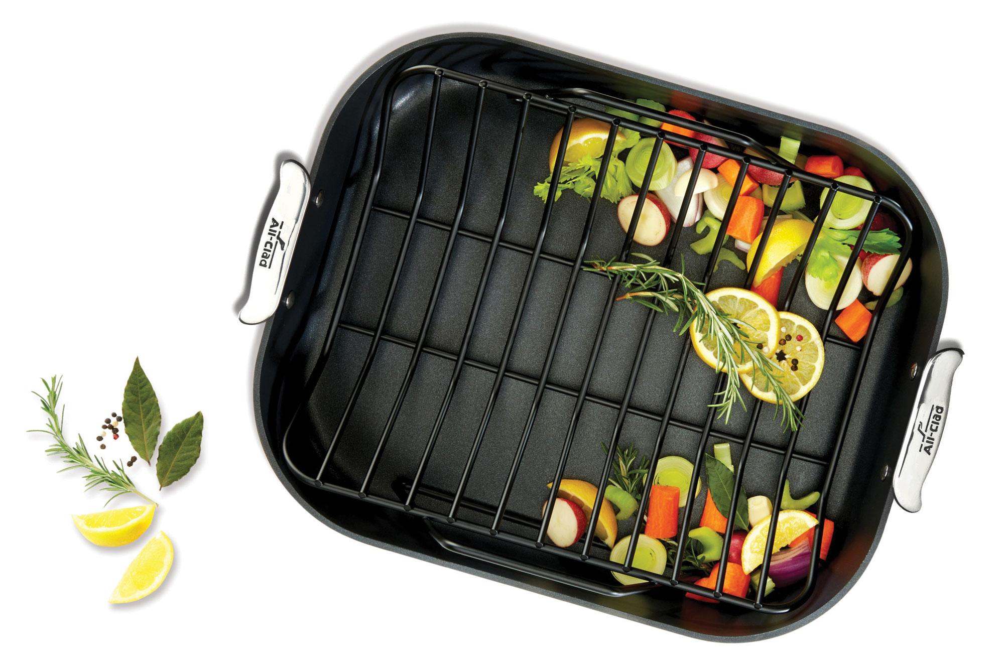 All Clad Ha1 Nonstick Roasting Pan With Rack 16 X 13 Inch