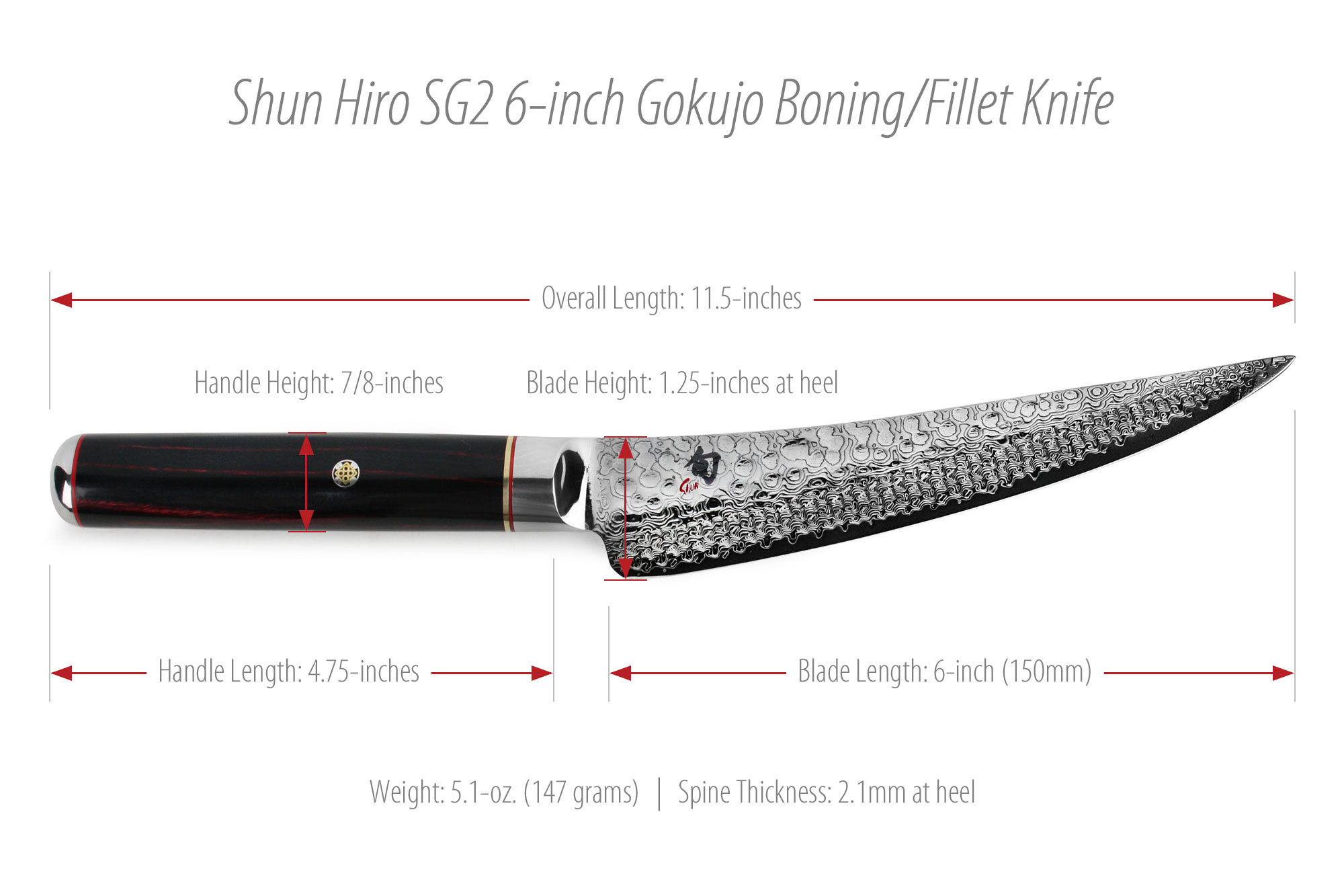 Shun Hiro Sg2 Gokujo Boning Fillet Knife 6 Quot Cutlery And