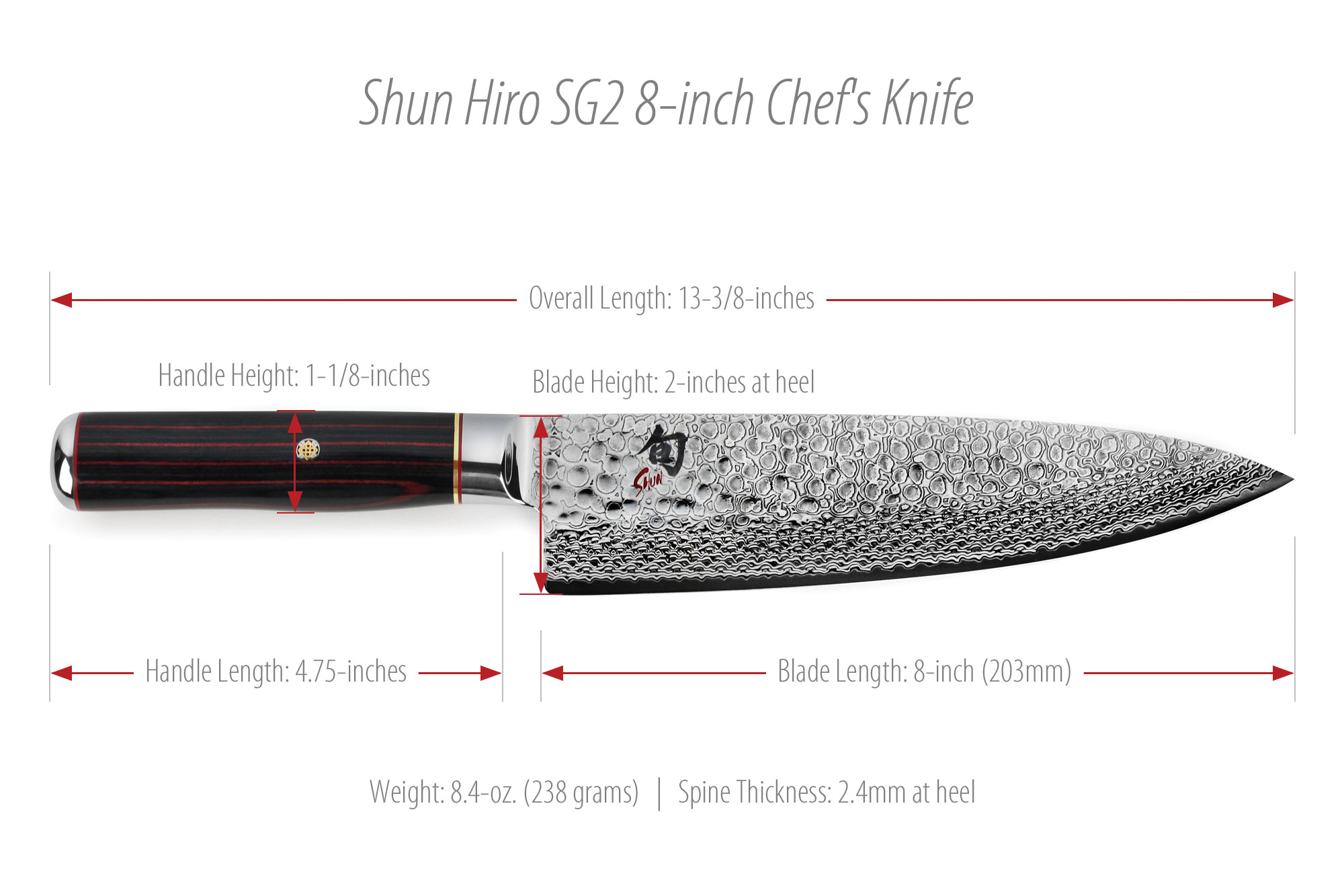 Shun Hiro Chef S Knives 8 Inch Sg2 Knife Cutlery And More
