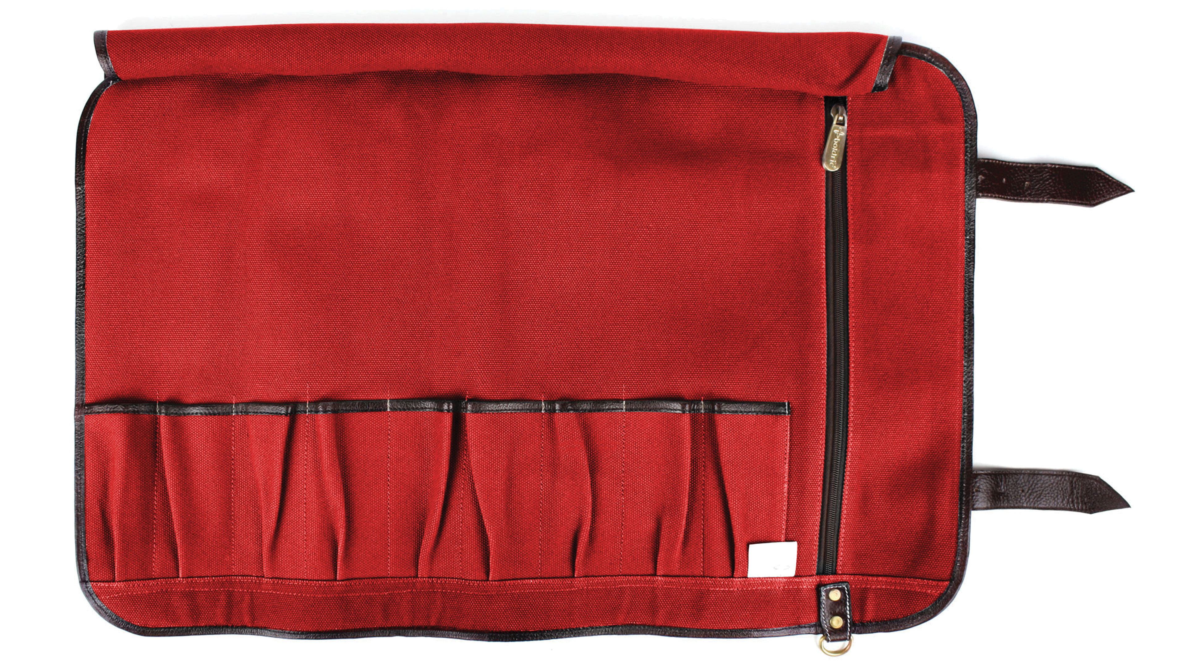 Boldric Canvas Knife Roll 9 Pocket Red Cutlery And More