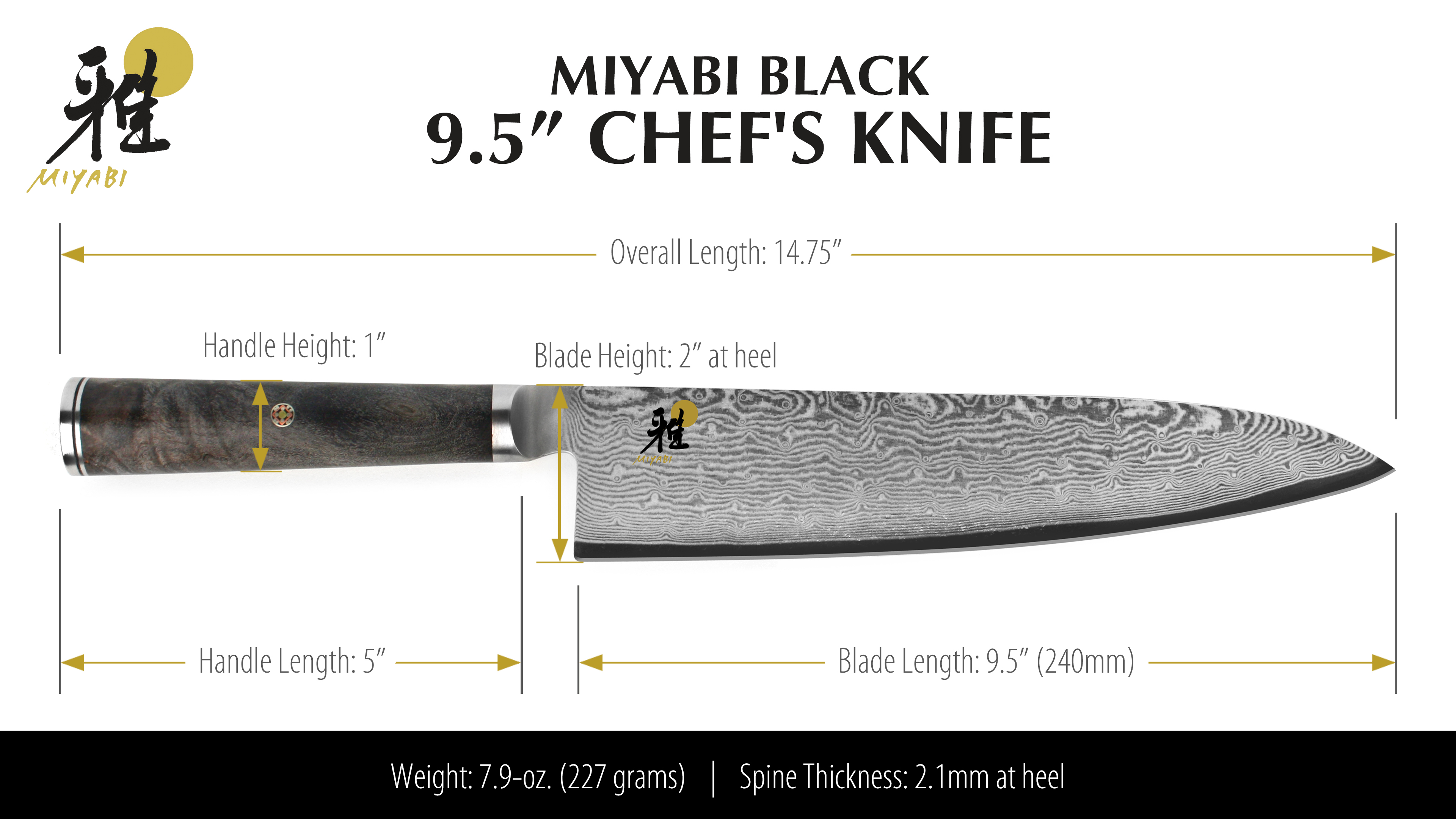 Miyabi Black Chef S Knife 9 5 Quot Cutlery And More