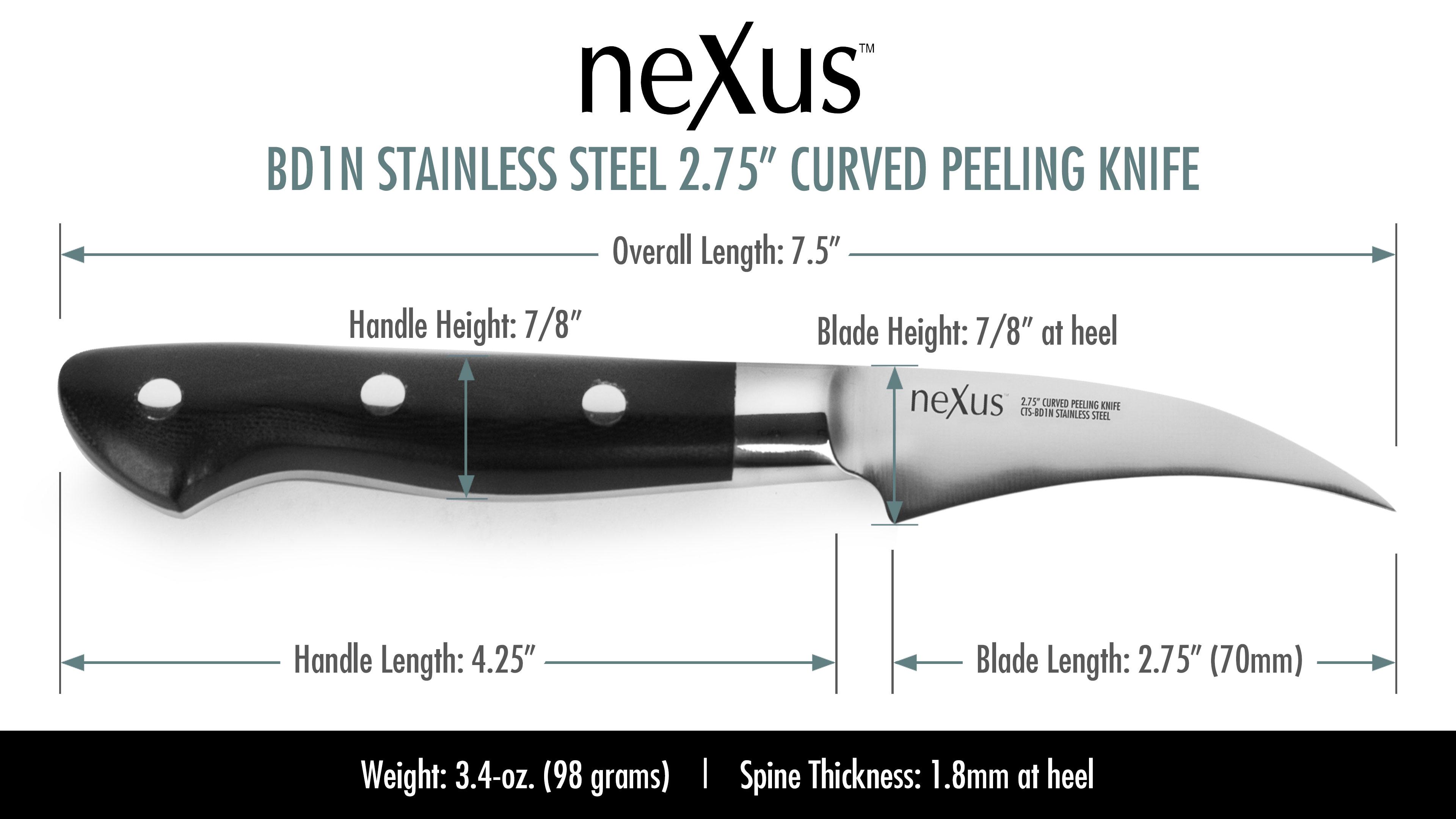 Nexus Bd1n Stainless Steel Curved Peeling Knife 2 75