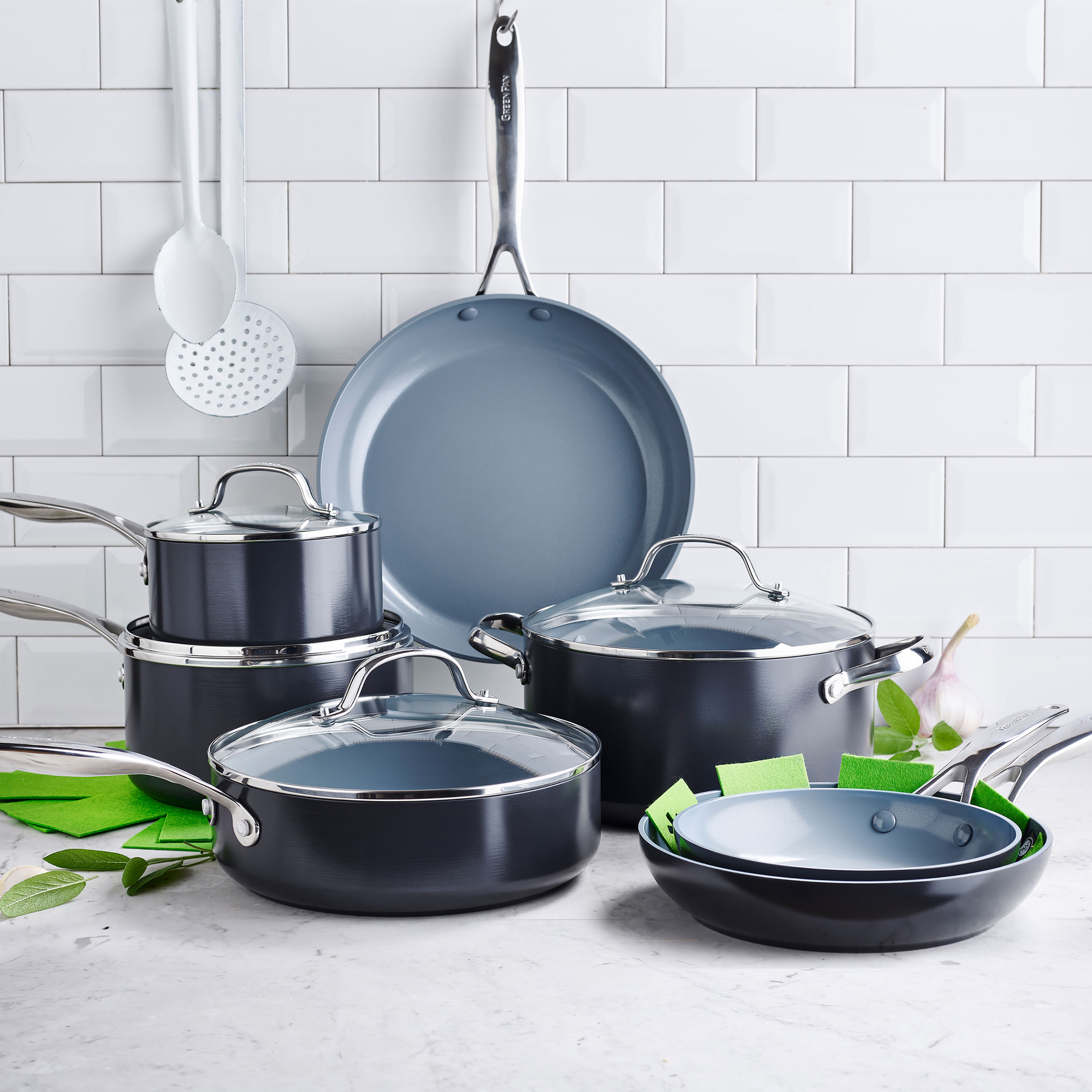 GreenPan Valencia Pro 11 Piece Nonstick Cookware Set with Bonus Cookware  Protectors