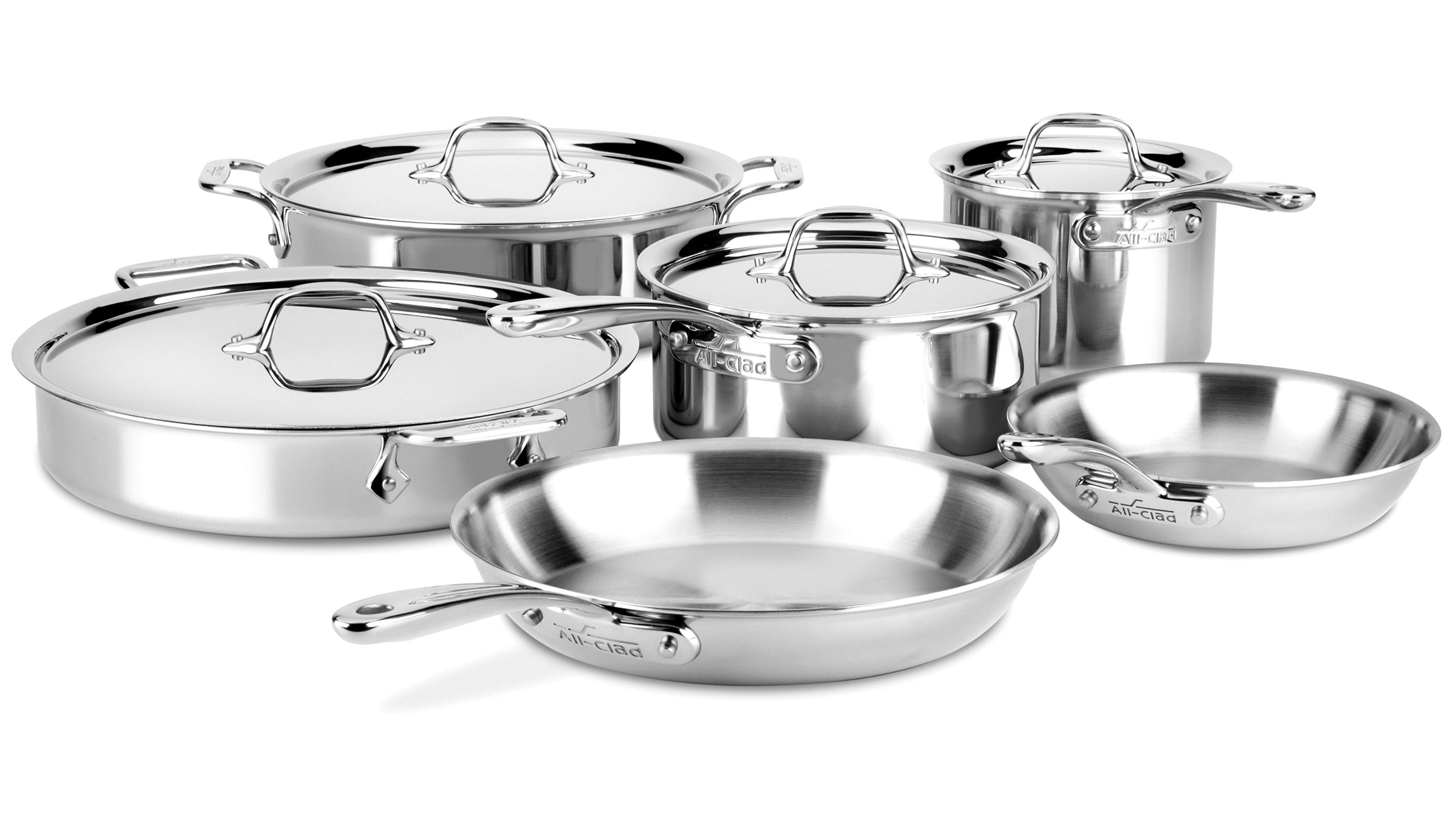 All Clad D3 Compact Cookware Set 10 Piece Stainless Steel