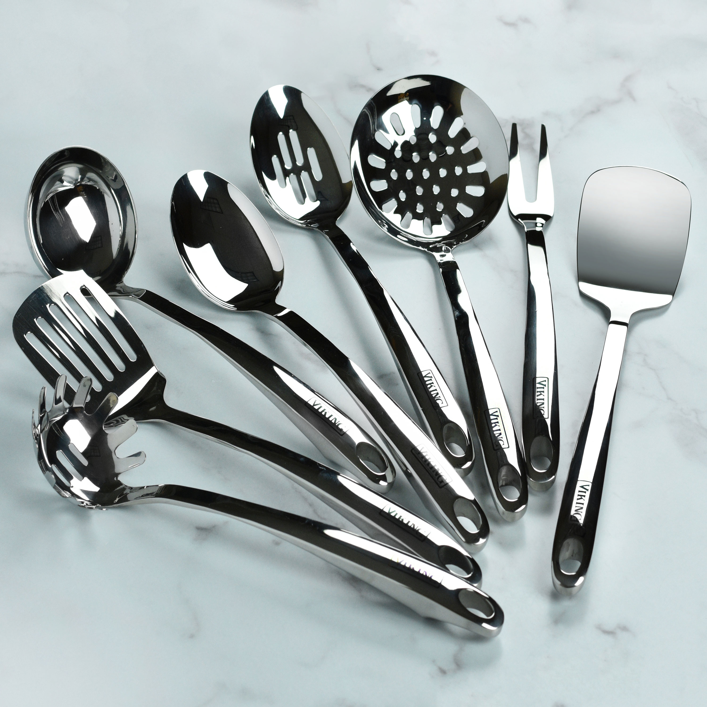 6 Tools Viking Stainless Steel Kitchen Utensil Set with Stay Cool Handles