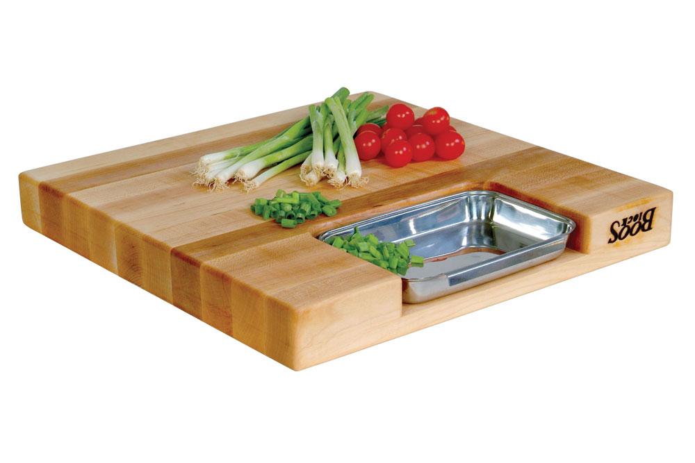 John Boos Maple Newton Prep Master Cutting Board With Pan