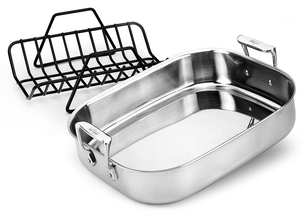 All Clad Stainless 14 X 11 Inch Roasting Pan With Rack