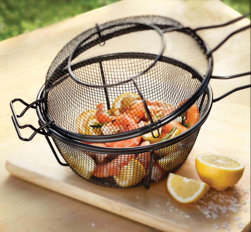 Outset Nonstick Deep Grill Basket With Skillet Lid 9 Inch
