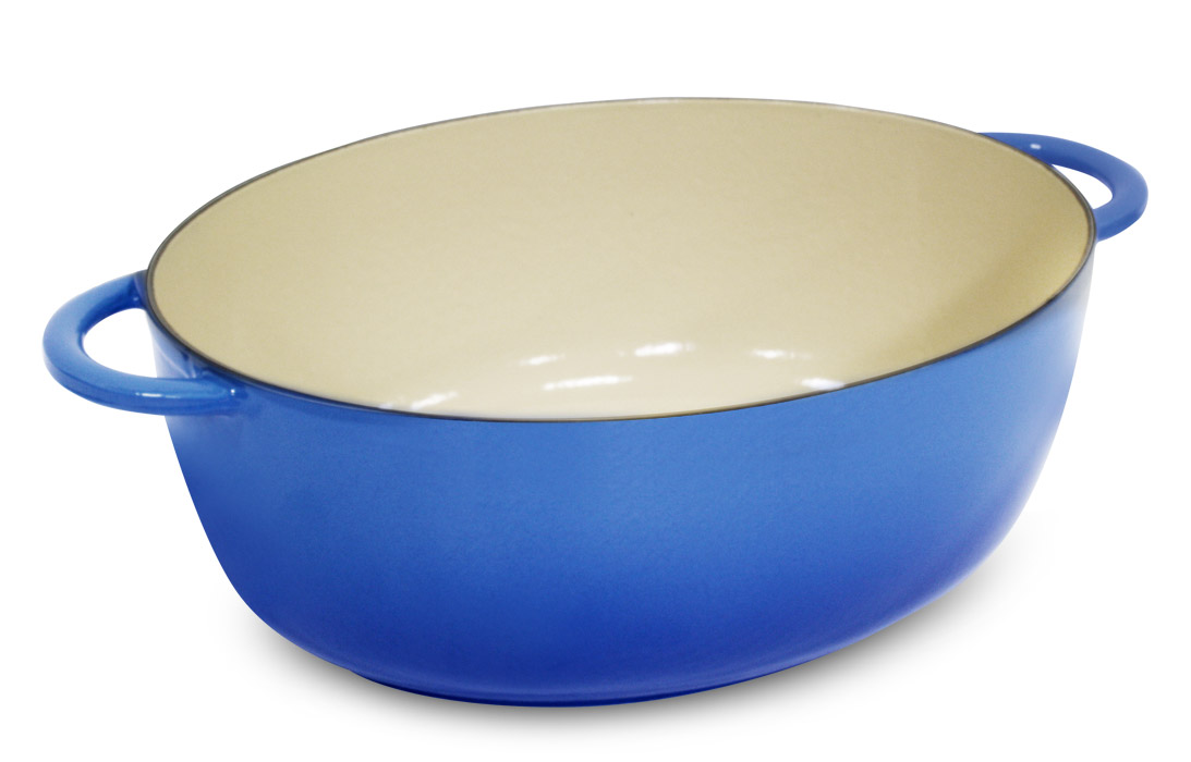 Fontignac Cast Iron Oval Dutch Oven 8 5 Quart Blue