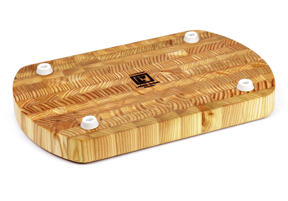 Larch Wood Curved End Grain Cutting Board 15x9 5x1 5