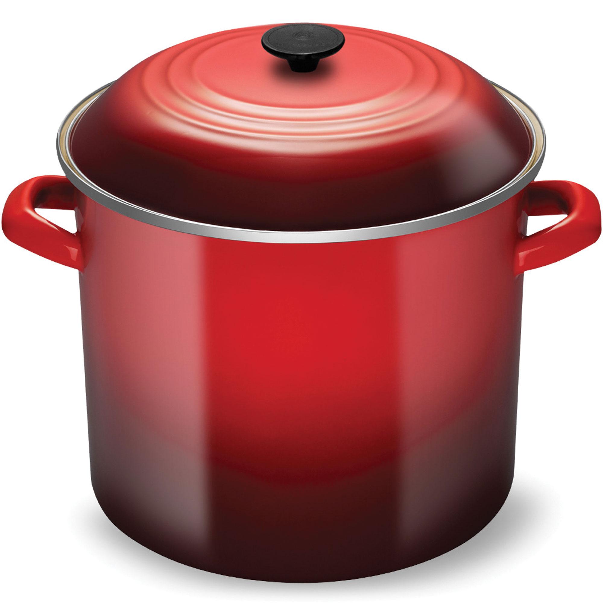 Le Creuset Enameled Steel Stock Pot 20 Quart Cherry Red