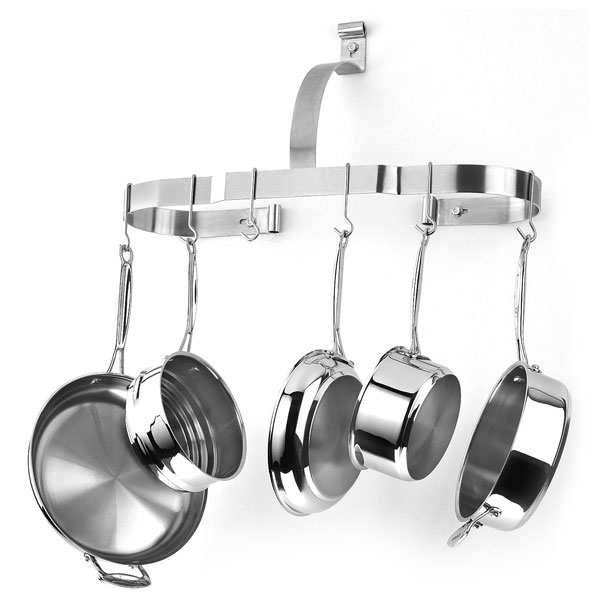 Cuisinart Stainless Steel Oval Wall Pot Rack Cutlery And