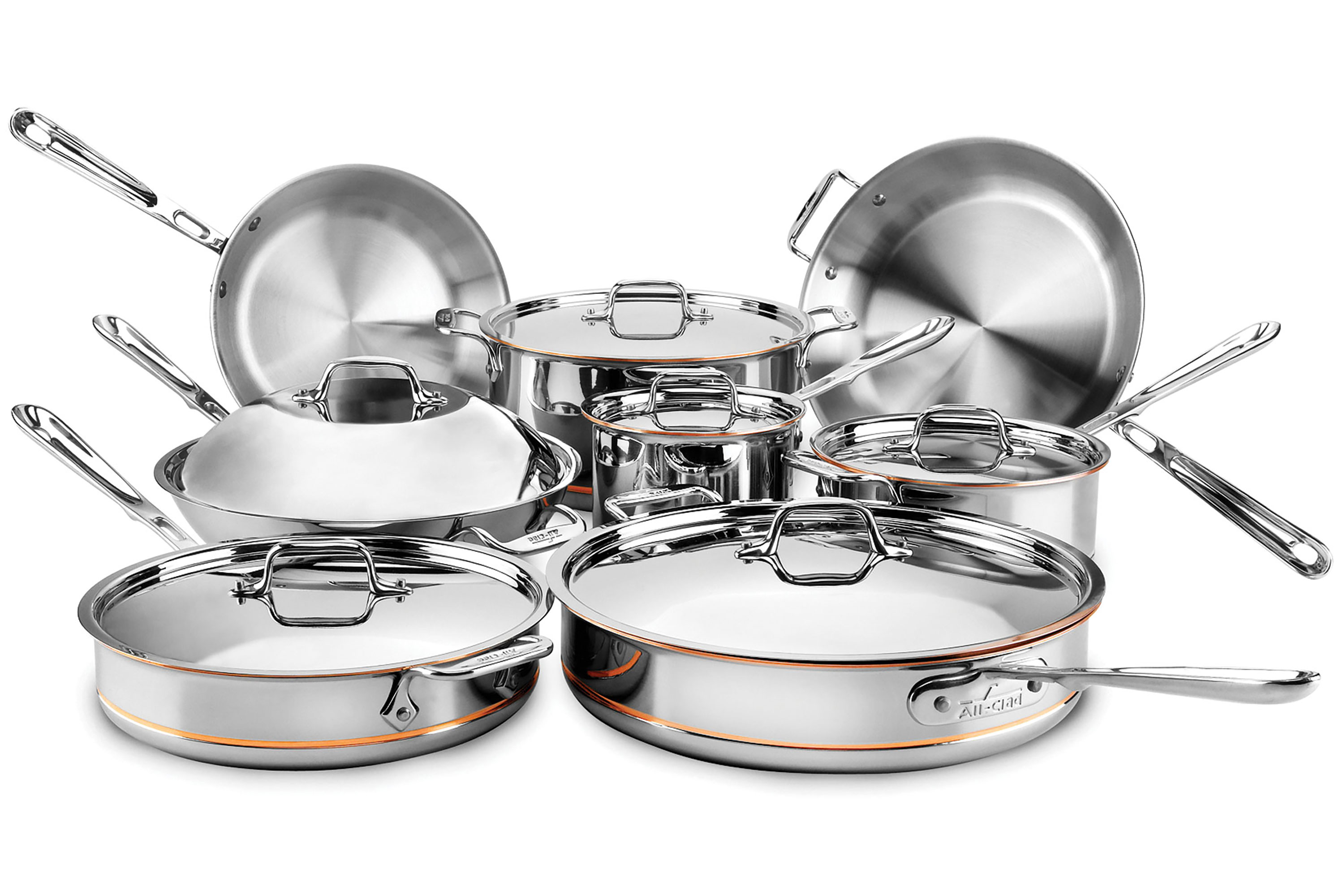 All Clad Copper Core Cookware Set 14 Piece Stainless Steel