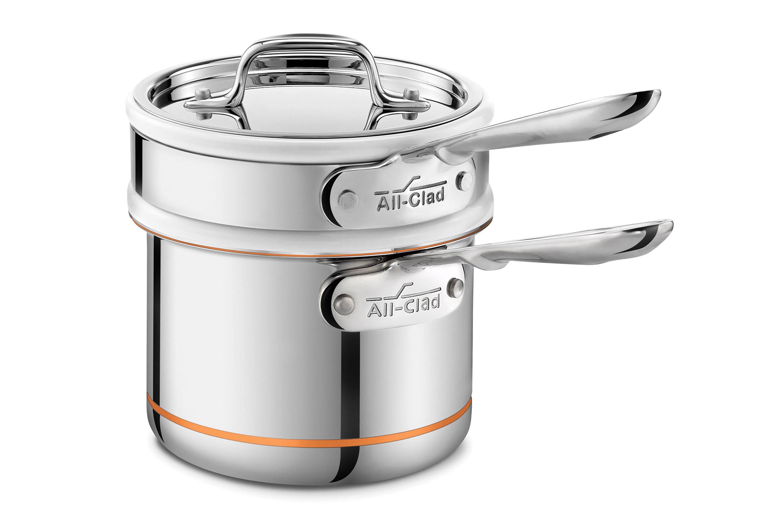 AllClad Copper Core Ceramic Double Boiler Saucepan Set 2quart