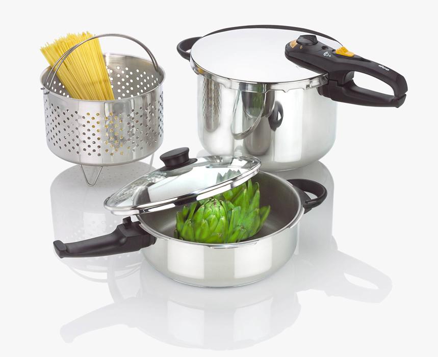 Fagor Duo Combi Pressure Cooker Deluxe Cookware 5 Piece Set Pressure