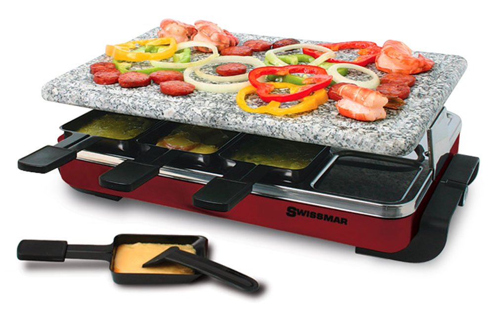 swissmar classic raclette grill with granite stone 8 person cutlery and more. Black Bedroom Furniture Sets. Home Design Ideas