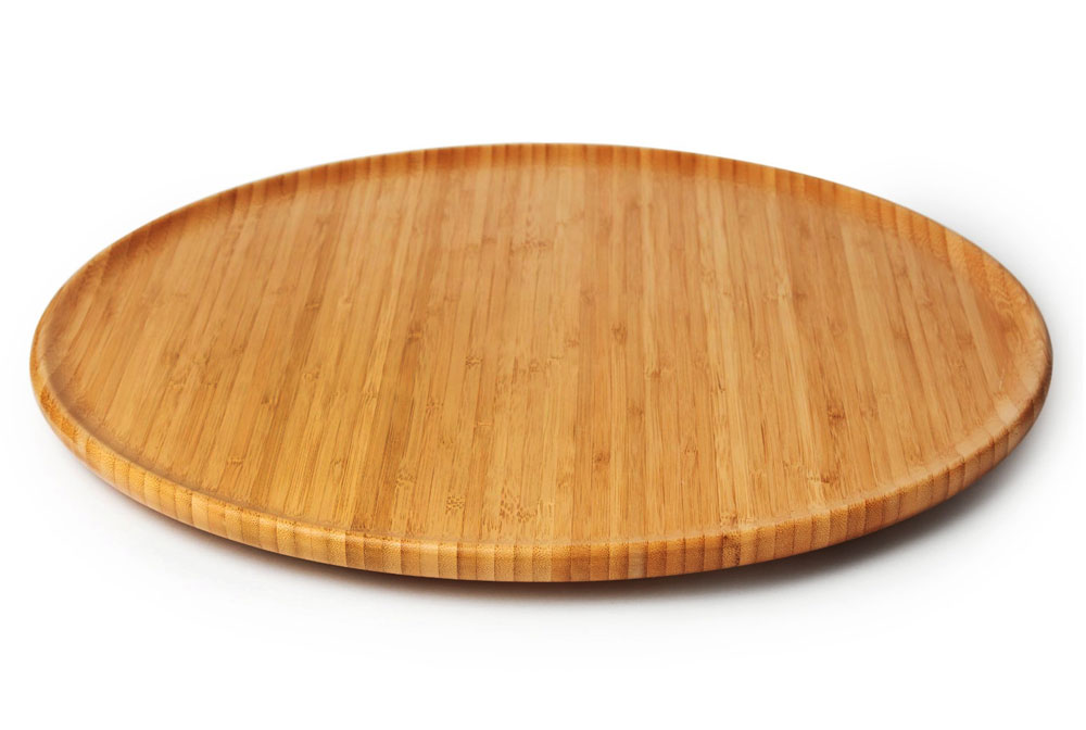 Totally Bamboo Round Bamboo Lazy Susan 18 Inch Cutlery