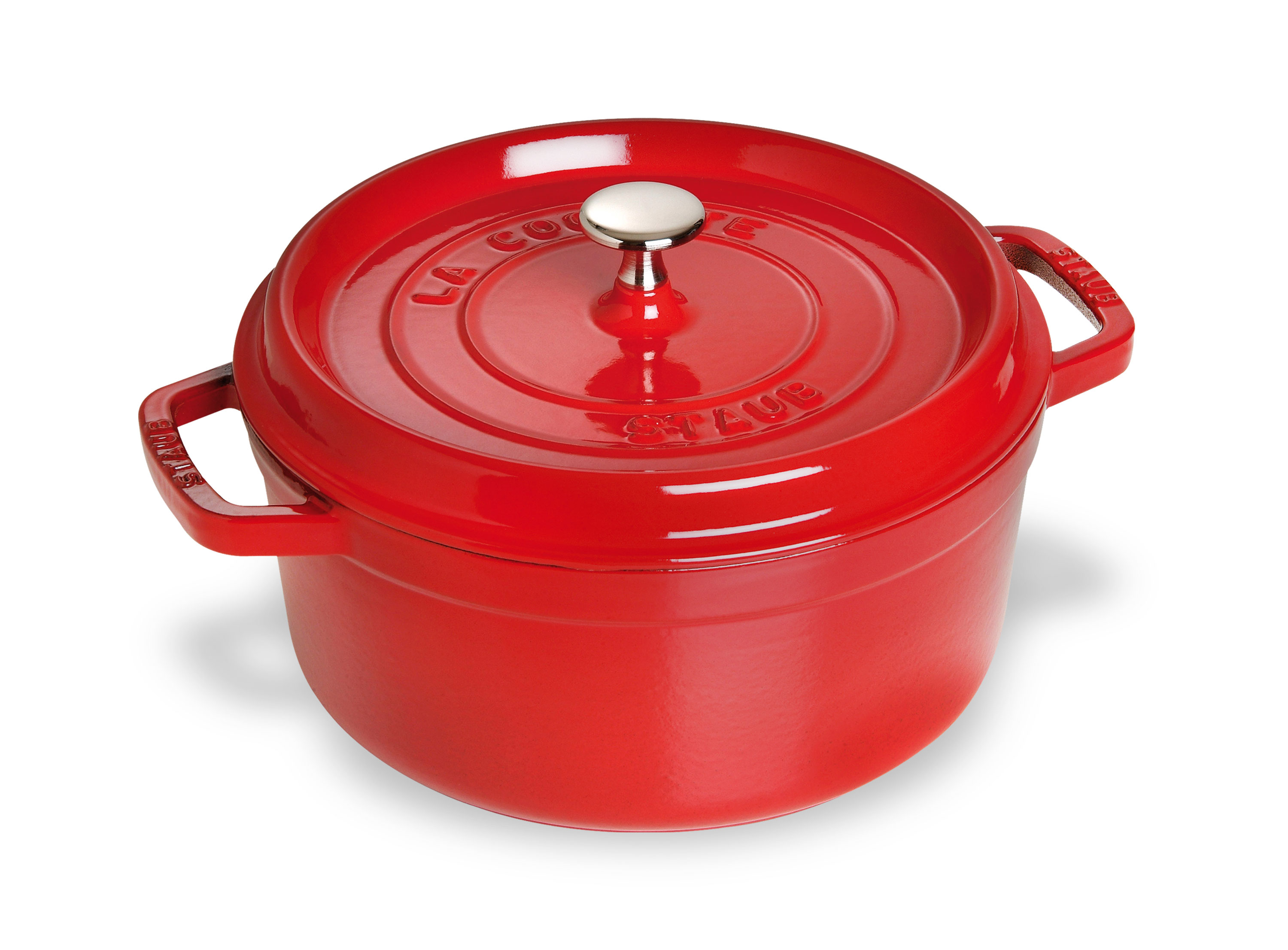 staub cast iron cocotte 4 quart cherry red dutch oven cookware cutlery and more. Black Bedroom Furniture Sets. Home Design Ideas