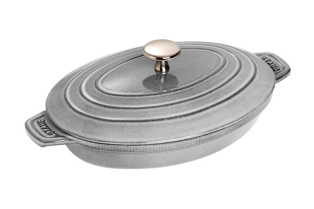 Staub Oval Casserole 1 Quart Graphite Gray Cutlery And