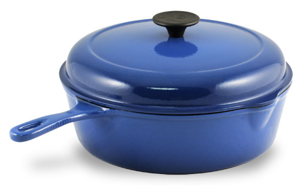 Le Creuset Cast Iron Chicken Fryer 3 75 Quart Cobalt Blue