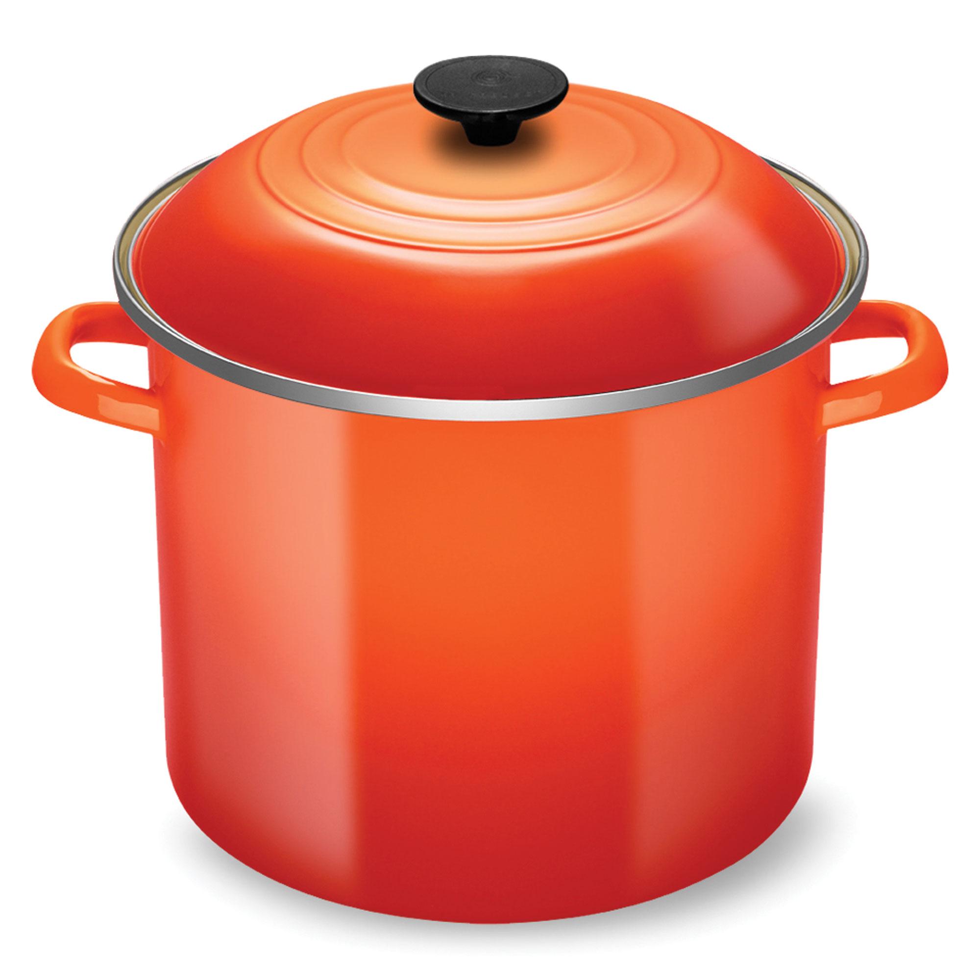 Le Creuset Enameled Steel Stock Pot 12 Quart Flame