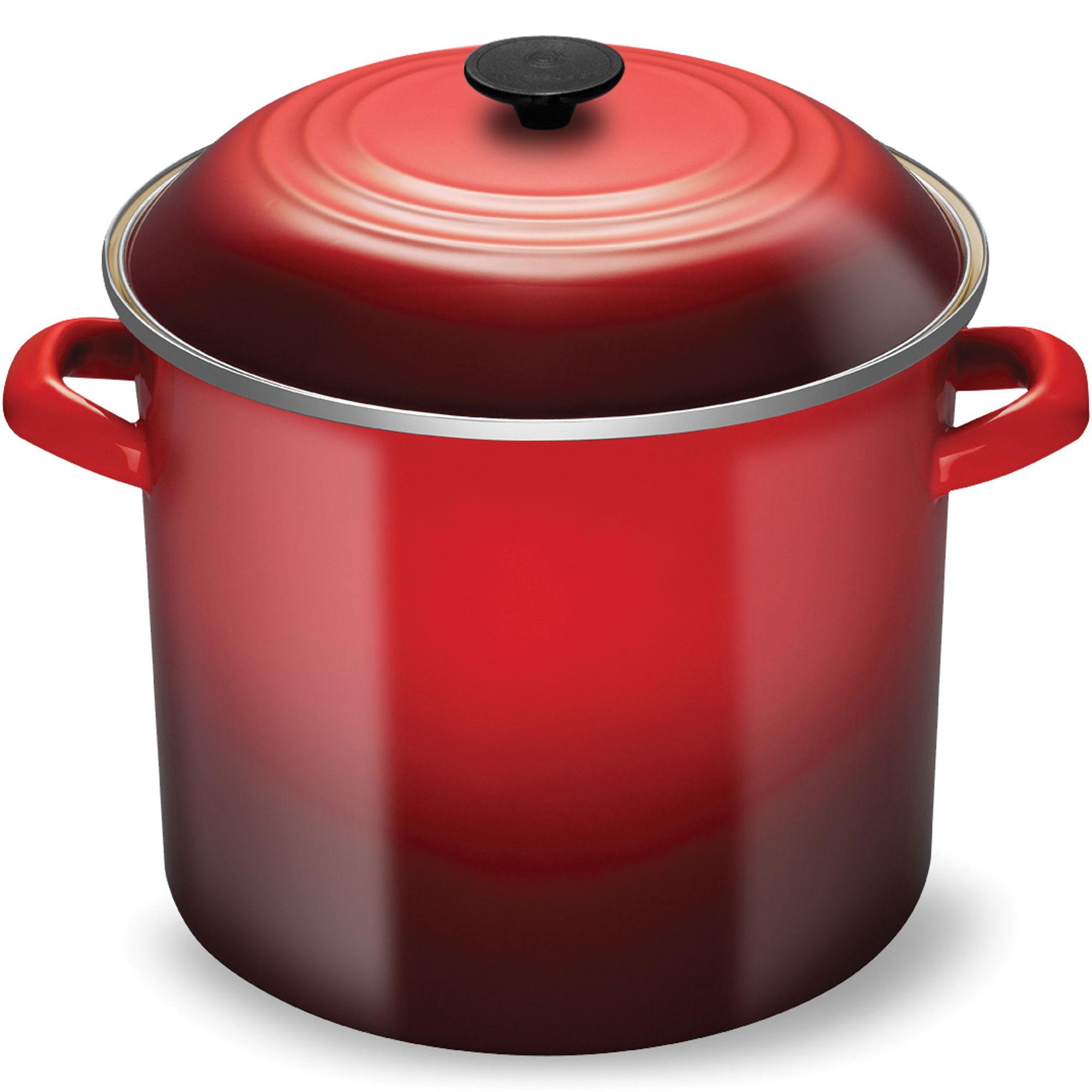 Le Creuset Enameled Steel Stock Pot 16 Quart Cherry Red