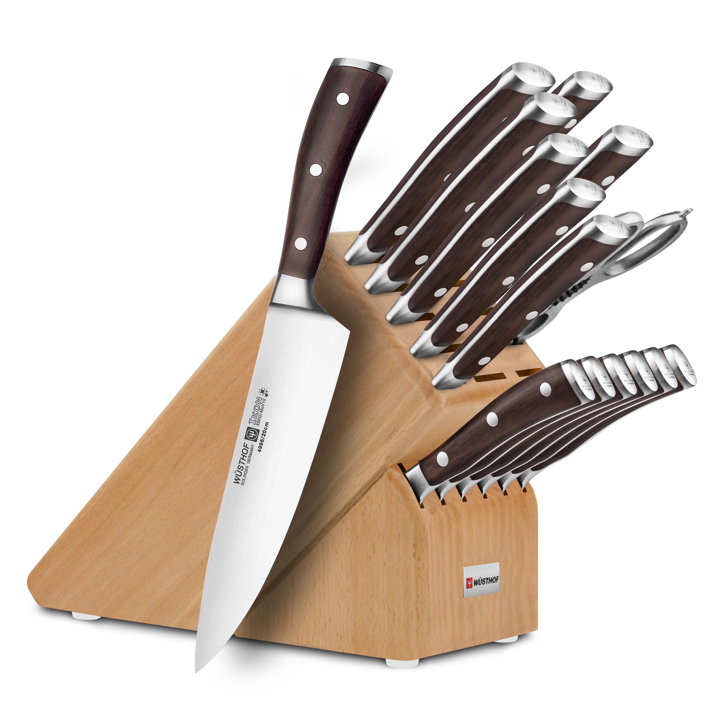 Wusthof Ikon Blackwood Premier Knife Block Set, 16-piece Natural ...