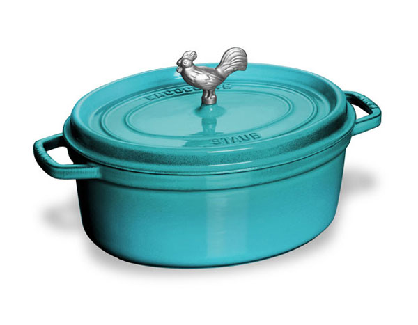 Staub Coq Au Vin Oval Dutch Oven With Rooster Knob 4 25