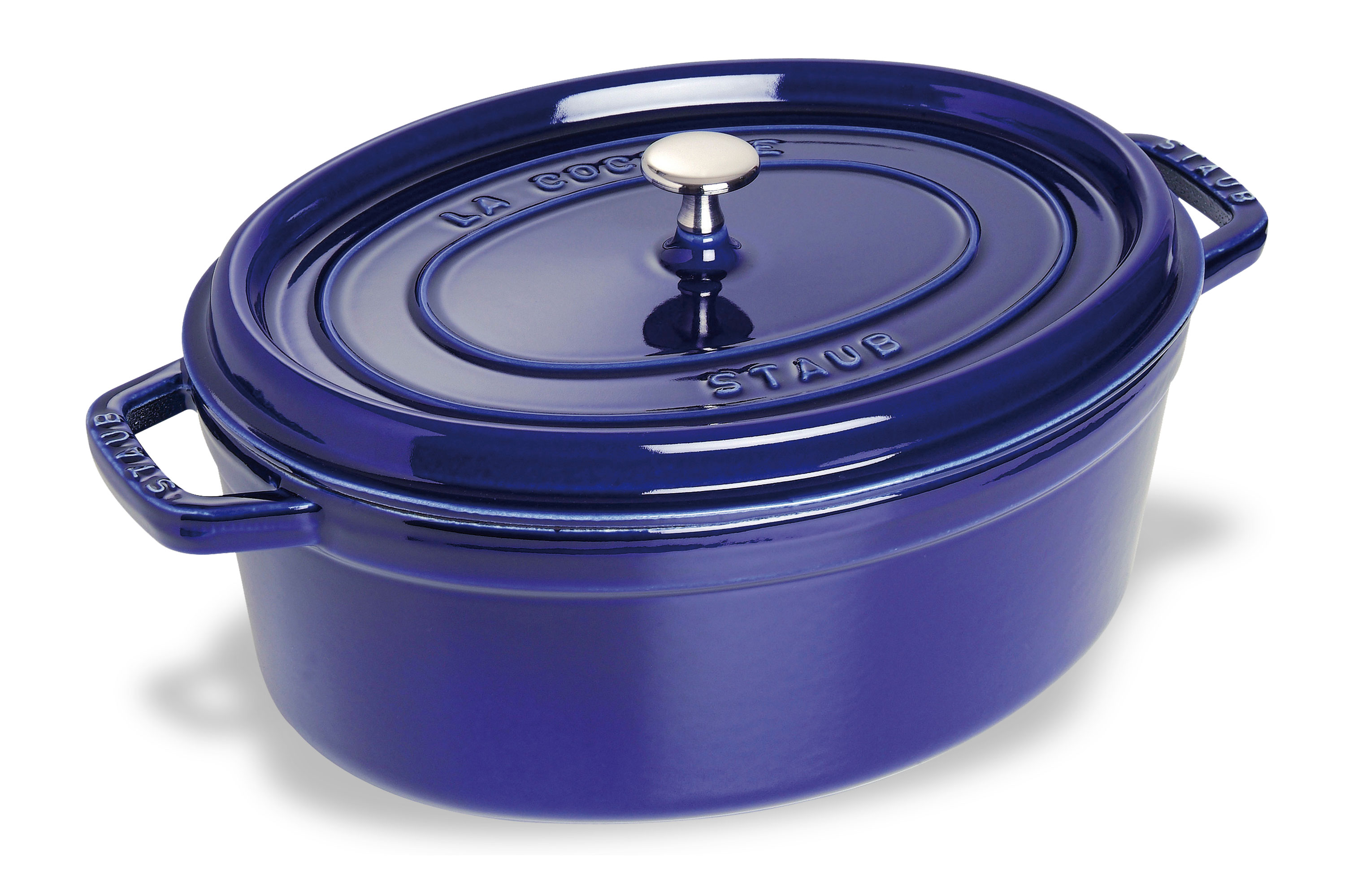 Staub Oval Dutch Oven 7 Quart Sapphire Blue Cutlery And