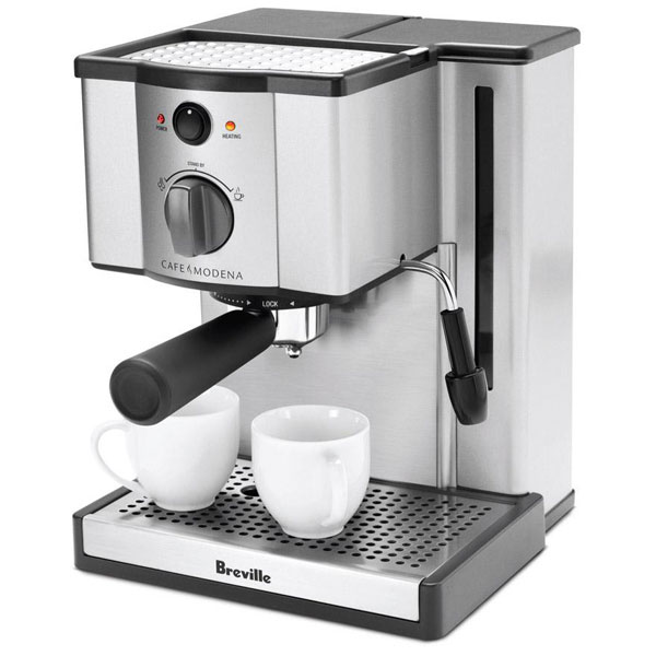 breville stainless steel cafe modena espresso machine. Black Bedroom Furniture Sets. Home Design Ideas