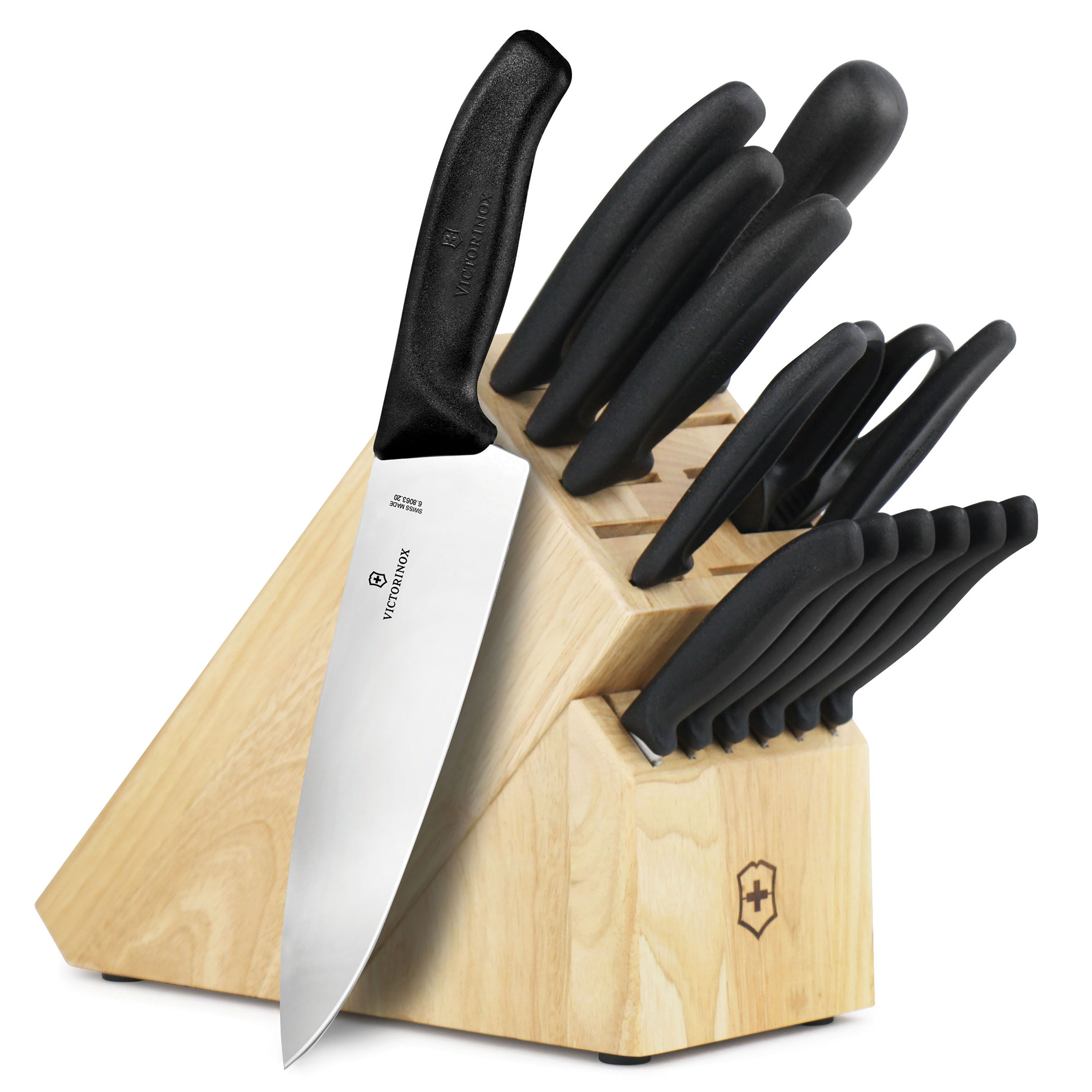 Victorinox swiss classic knife block set 15 piece for Victorinox kitchen knife set 5 pieces