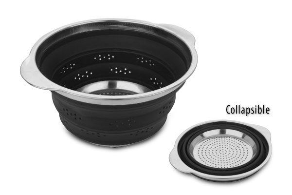 Miu Silicone Amp Stainless Steel Collapsible Colander Black