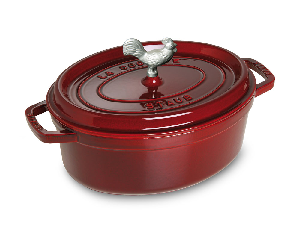 Staub Coq Au Vin Oval Dutch Oven 4 25 Quart Grenadine
