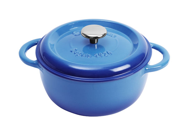 Fontignac Cast Iron Round Dutch Oven 2 4 Quart Blue