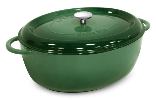 Fontignac Cast Iron Oval Dutch Oven 8 5 Quart Green