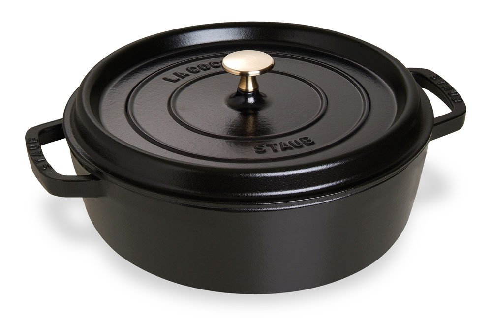 Staub Shallow Round Dutch Oven 6 Quart Matte Black