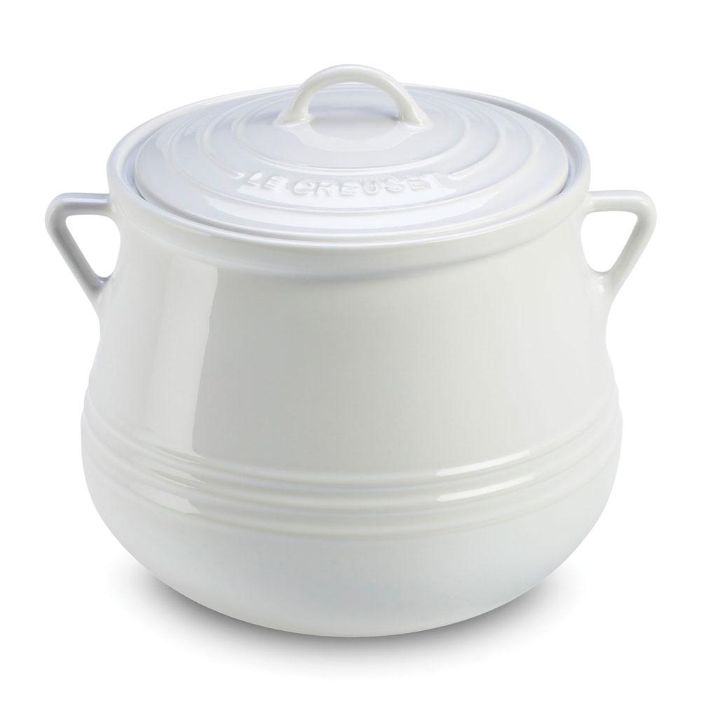 Le Creuset Stoneware Heritage Bean Pot 4 5 Quart White
