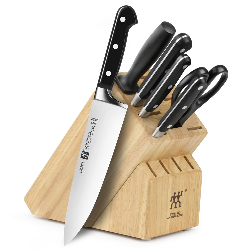 Zwilling j a henckels professional s knife block set 7 for Kitchen devil knife set 9