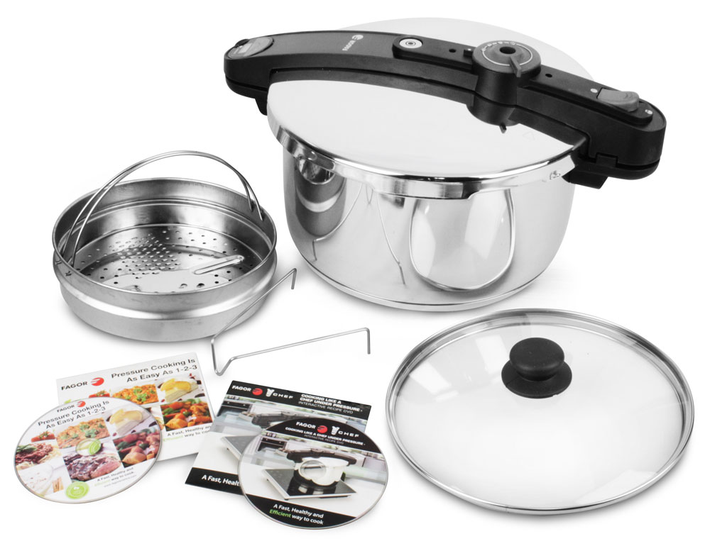 fagor chef stainless steel pressure cooker 10 quart cutlery and more. Black Bedroom Furniture Sets. Home Design Ideas